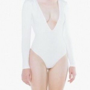 American Apparel White Double V Thong Bodysuit